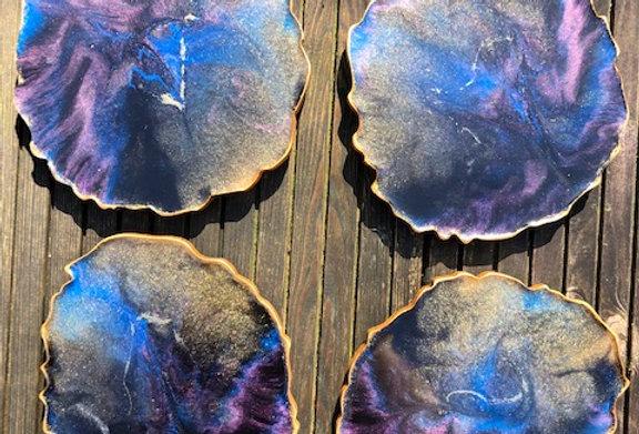 """""""Moody Skies"""" Geode Style Resin Art Coaster (4)"""