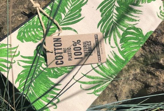 Jungle design cotton zip toiletry bag