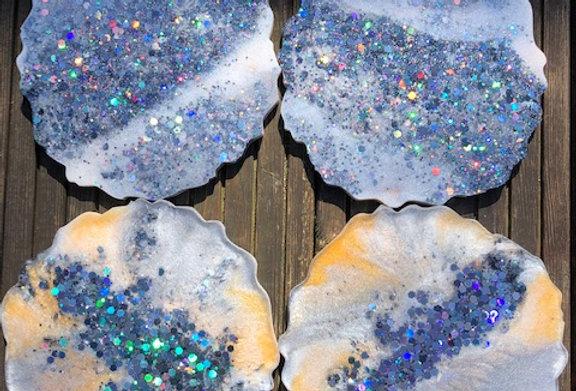 """Cosmic"" Geode Style Coaster Set"