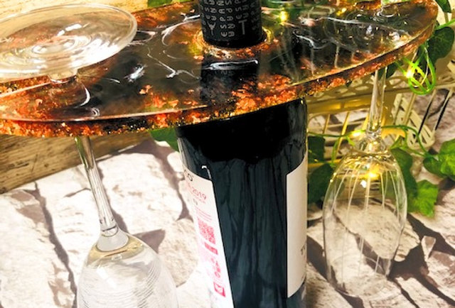 Black & Bronze Resin 2 Glass Table Top Wine Caddy
