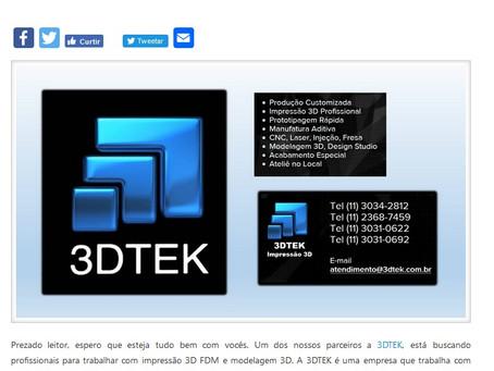 3D Tek abre vagas na área de impressão 3D