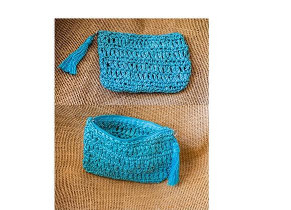 Turquoise Raffia clutch with zipper