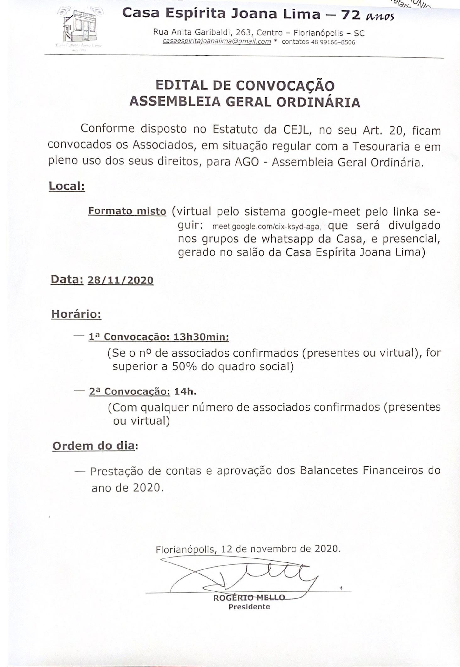 EDITAL DE CONVOCAÇÃO | ASSEMBLEIA GERAL ORDINÁRIA