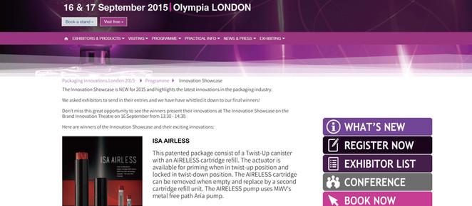 ISA Airless : Winner of Innovation Showcase @ Packaging Innovation London 2015