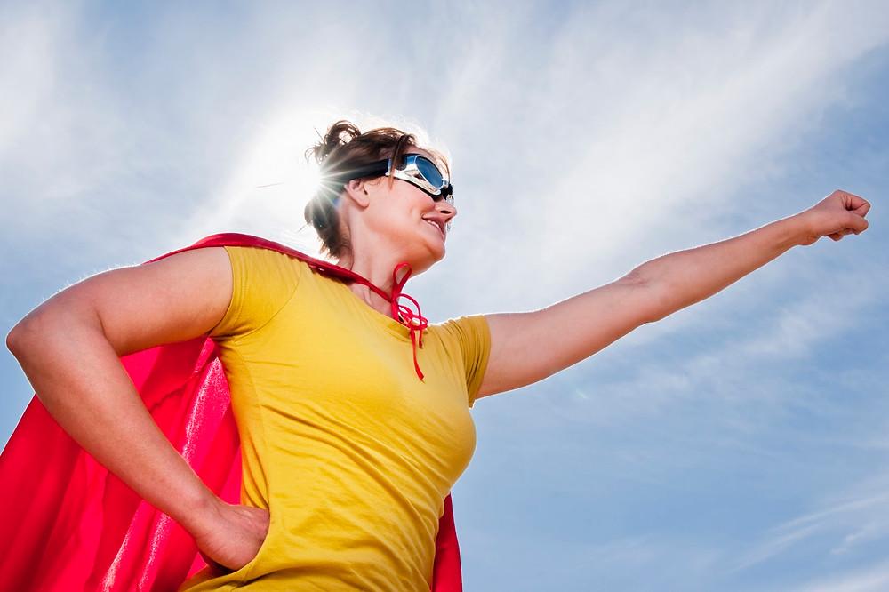 Woman wearing cape