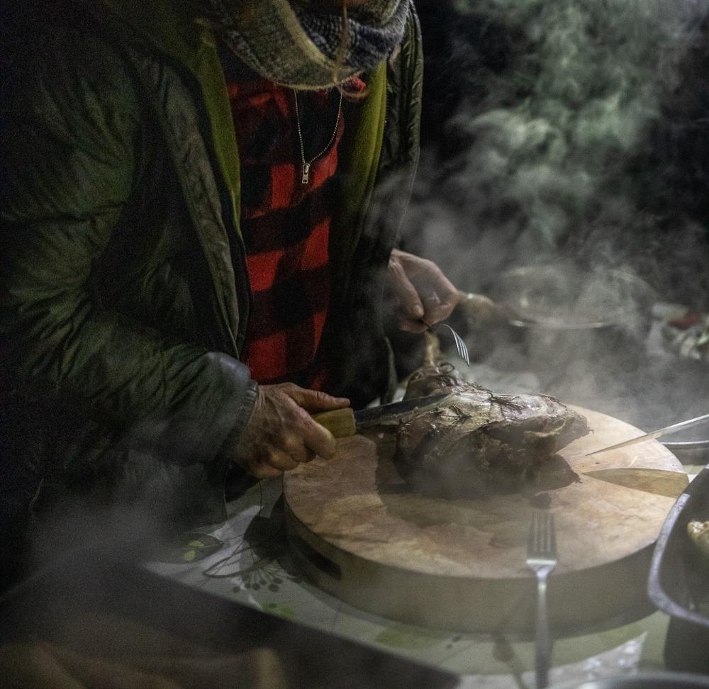 Pit roast venison