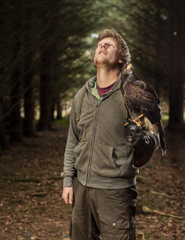 """The intense relationship between falconers and their birds is a mysteriously strong one as they work as a team- """" where's that squirrel gone """" ?"""