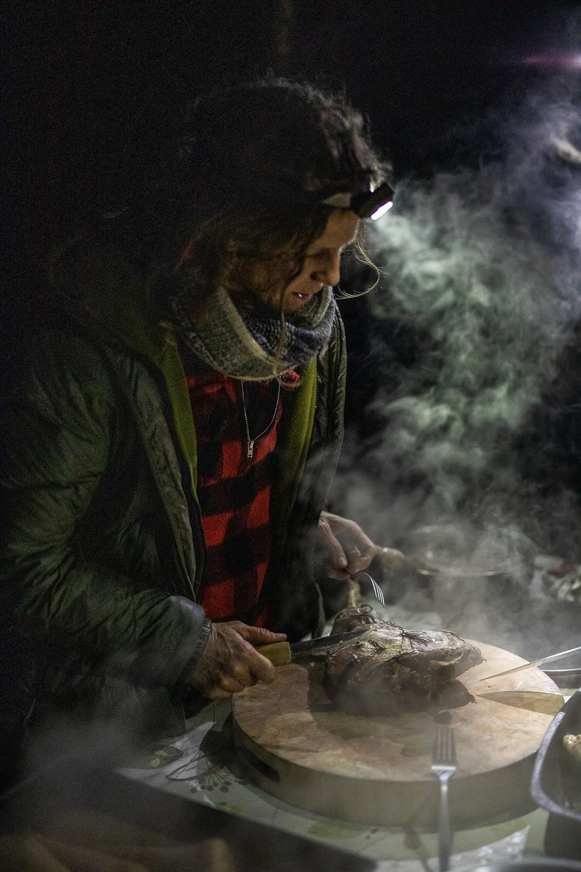 Pit roasted venison