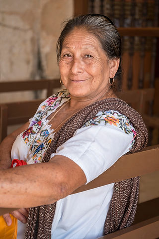 Portrait of a Mayan woman in Yucatan Sin