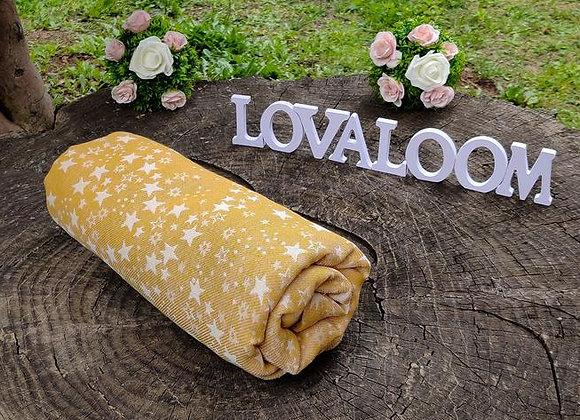 Fular tejido marca Lovaloom diseño MIEL DE TELESCOPIO