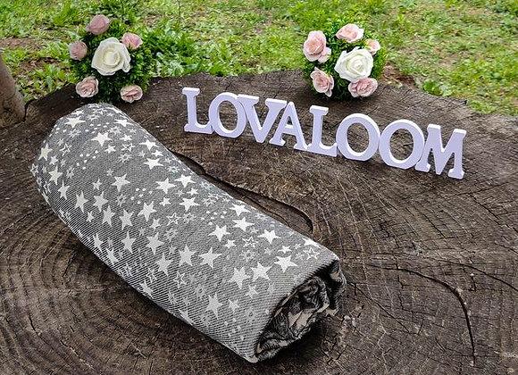 Fular tejido marca Lovaloom diseño TELESCOPE LICORICE