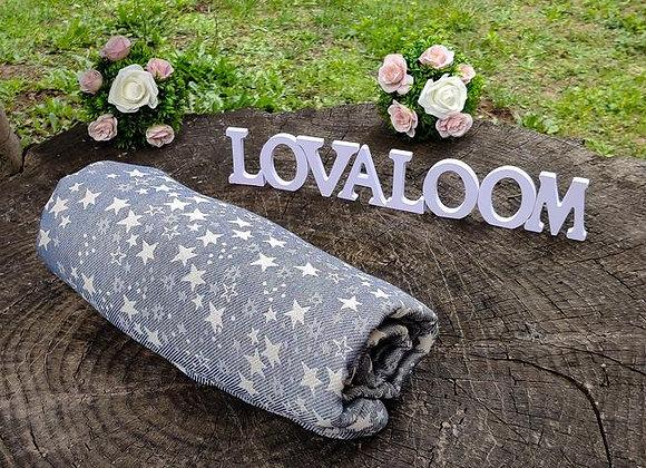Fular tejido marca Lovaloom diseño TELESCOPIO QUIET NITE