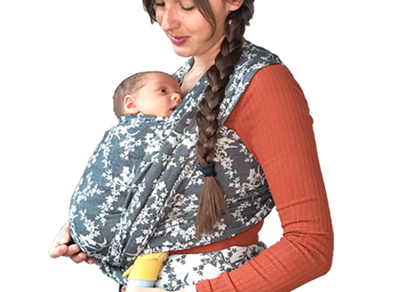 Fular tejido BabyMonkey Flora Negro