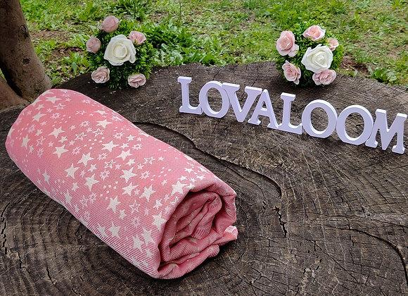 Fular tejido marca Lovaloom diseño TELESCOPIO DE MEJILLA A MEJILLA