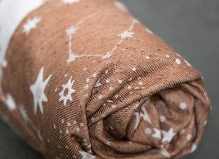 Fular tejido marca Lovaloom diseño ASTRA COPPER