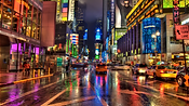 The neon lights are bright on Broadway
