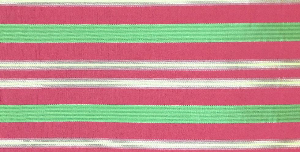 Green Tone on Tone and Pink Stripe