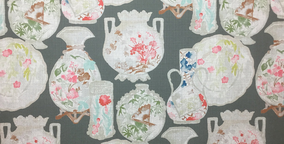 Gray Chinoiserie Vases - Truffle - Fabric by the Yard - Oriental