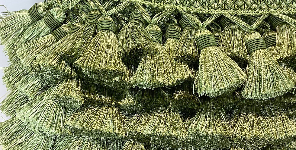 Candy Apple Green Tassel Trim - Intricate Tassel Trim - Trim by the Yard