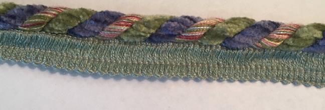 Chenille Purple - Green - Lip cord
