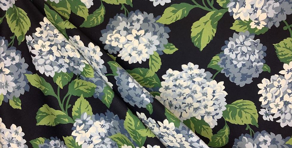 Summer Wind Navy - Hydrangea Floral - Dark Navy - Pastel Blue - Lavender - Leafy