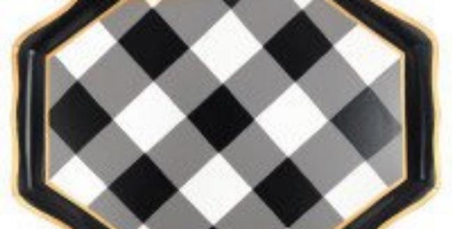 Black and White Check - Tea Tray