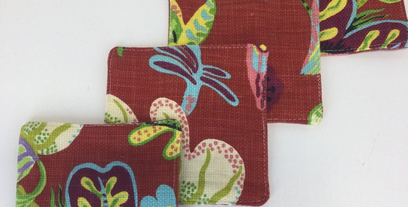 Red Wonderland Whimsical Cocktail Napkins - Set of Four - Fabric Coasters