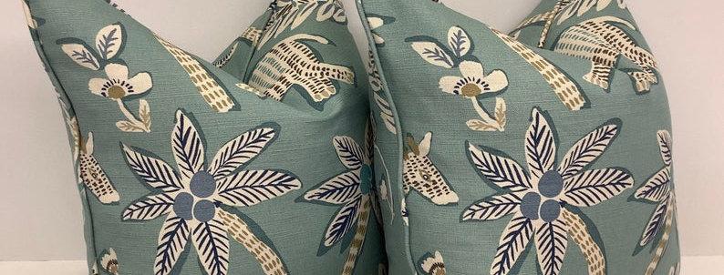 Thibaut Goa Aqua Pillow Cover