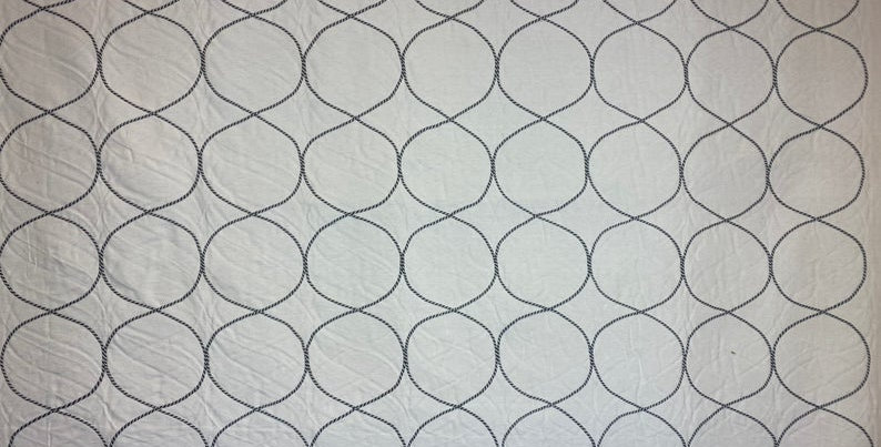 Wynn smoke Upholstery Fabric   - White and gray rope - Fabric rope Appliqué - De