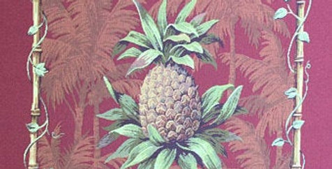 Burgundy Pineapple Pillow Fabric