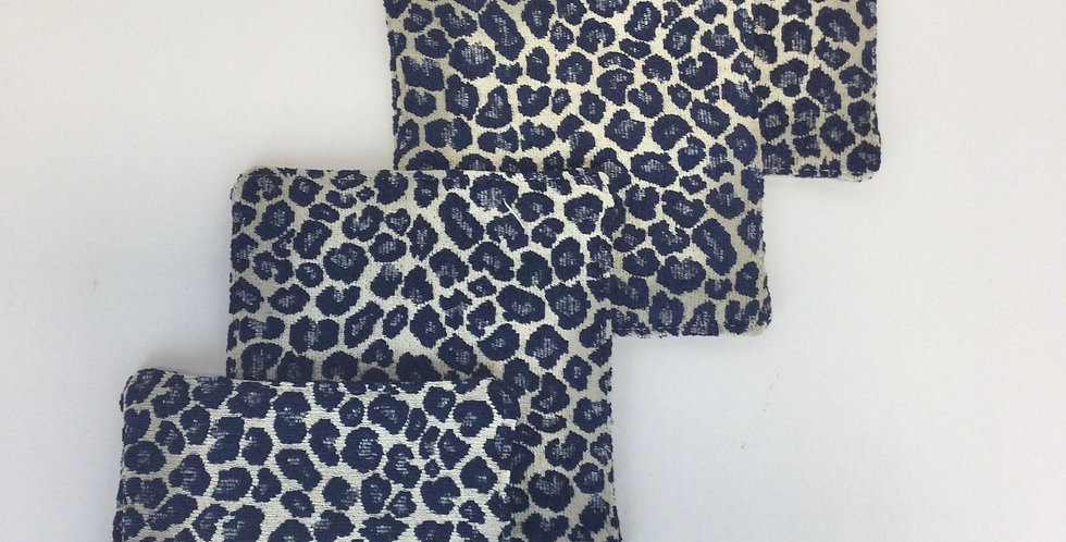 Navy Cheetah Spots Cocktail Napkins - Set of Four - Fabric Coasters