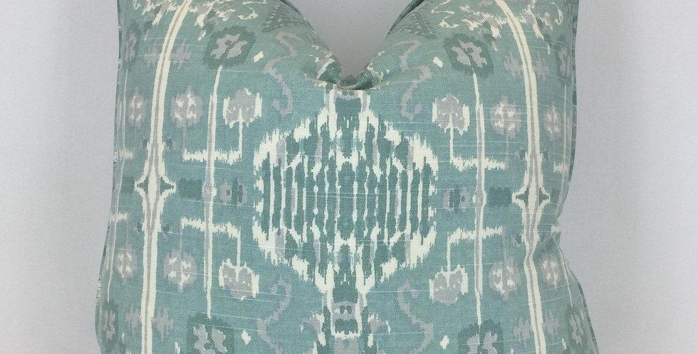 Lacefield Aqua Ikat Pillow Cover - Designer Fabric Pillow Cover
