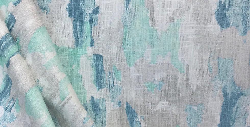 Splash Fountain - Slub Canvas - Abstract Paint Strokes - Aqua - Teal - Gray