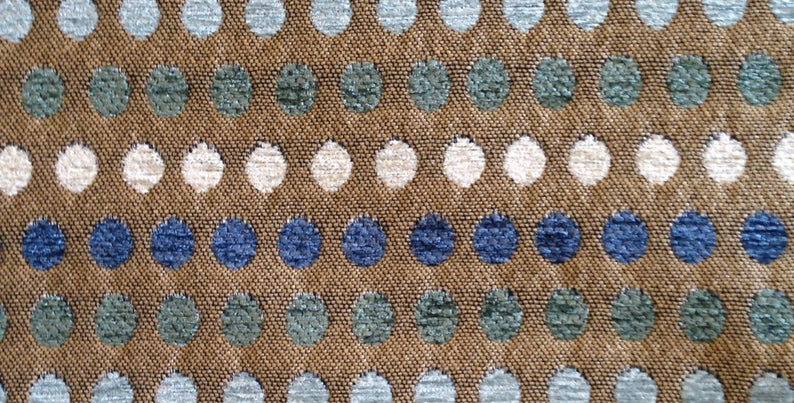 Dark Blue - Ice Blue - Turquoise - Upholstery Fabric - Chenille Dots - Headboard