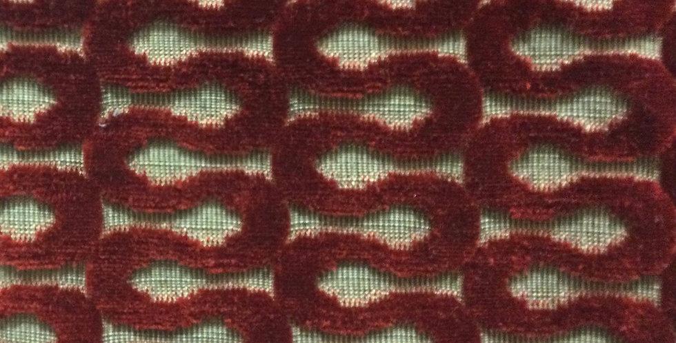 Rich Red Velvet Swirl - Geometric Pattern - Cut Velvet - Luxurious Red Fabric