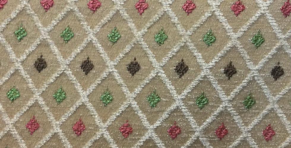 Diamond Chi - Coral, Green, Chocolate, Gold Diamond Upholstery Fabric