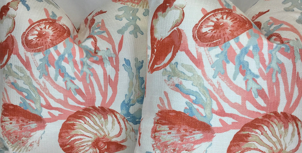 La Concha - Regal - Coral - Fabric By the Yard - Coastal