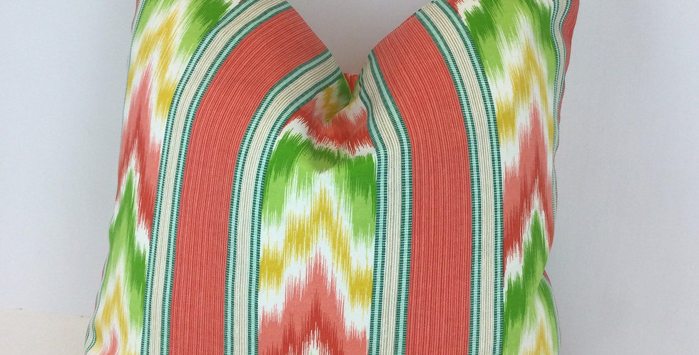 Sherbert Ikat Stripe - Outdoor Pillow Cover - Multicolored Pillow Cover
