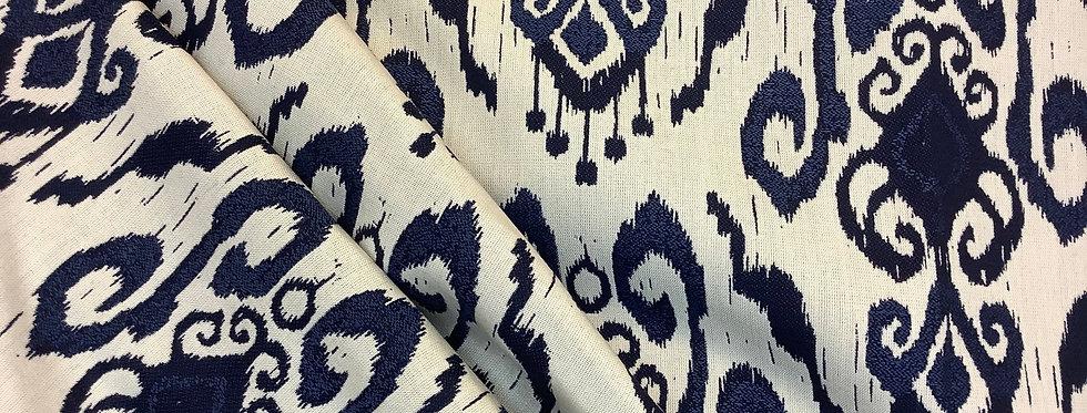 Modern Navy and Cream Ikat - Geometric Ikat - Fabric by the Yard