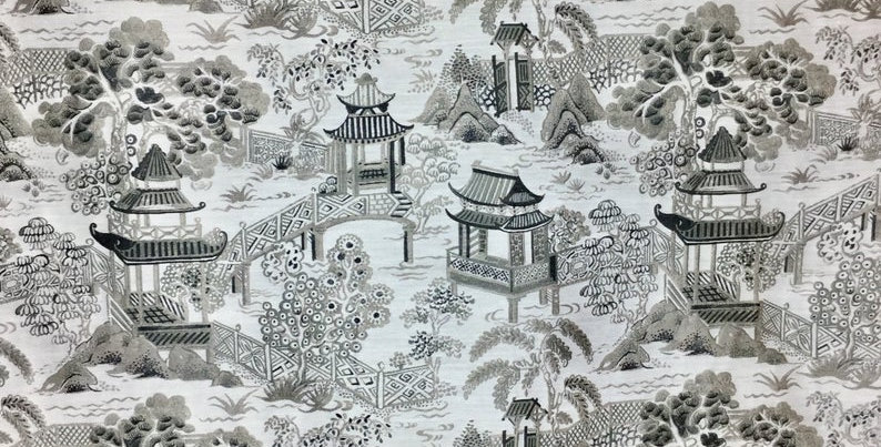 Ashen Pagoda - Chinoiserie - Oriental - Black - Gray - Accent Pillows - Upholste
