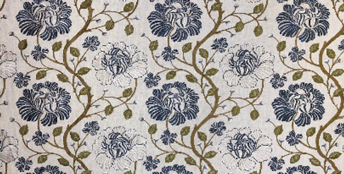 Vining Floral - Embroidered - Navy - White