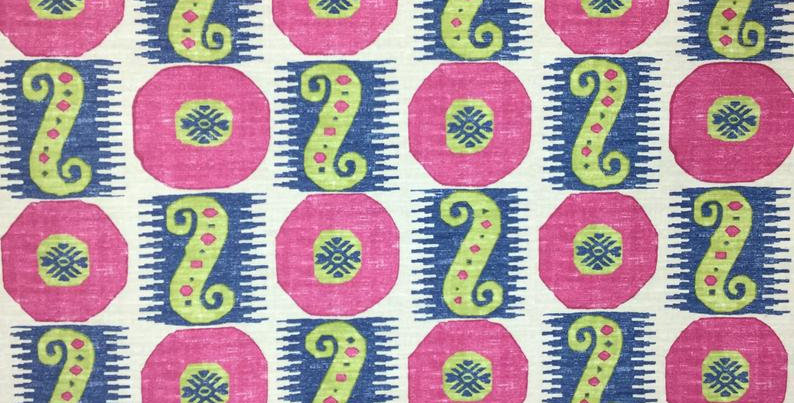 Scrolling Along - circles and scrolls - Blue green and fuchsia