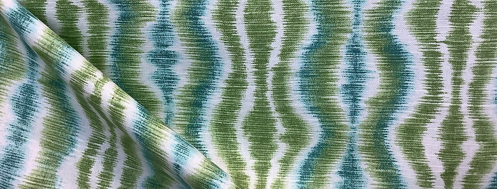 Kiwi and Teal Ikat - Vibrant Colored Fabric - Fabric by the Yard