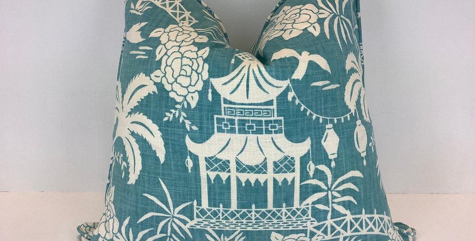Aqua Teahouse Pagoda Pillow Cover