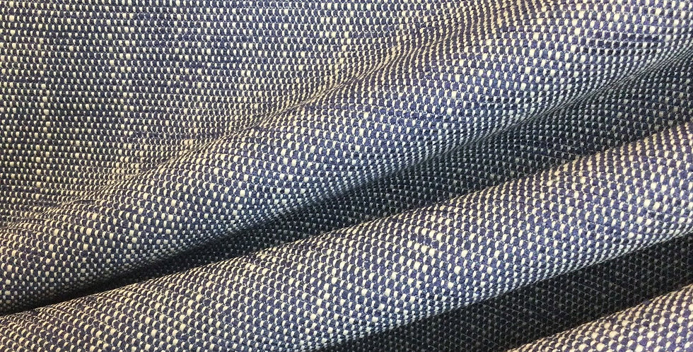 Neo Denim - Mingled Solid Fabric - Textured Woven Fabric - Blue & Off White