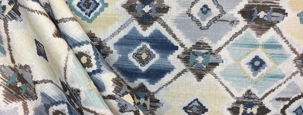R-Shasta Indigo - Tribal Pattern Fabric - Aztec Pattern Fabric - Textured Tribal