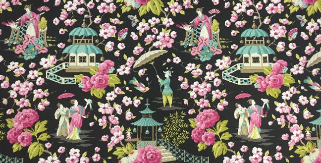 Pink and Aqua - Asian Fabric - Summer Palace