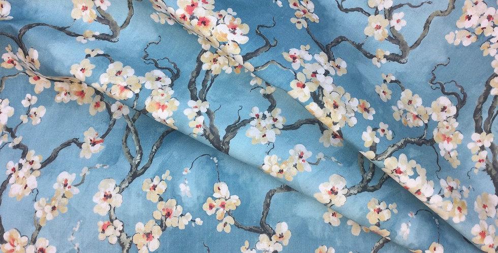 Sakura - Azure - Covington - Floral - Cherry Blossom Fabric - Azure Blue Fabric