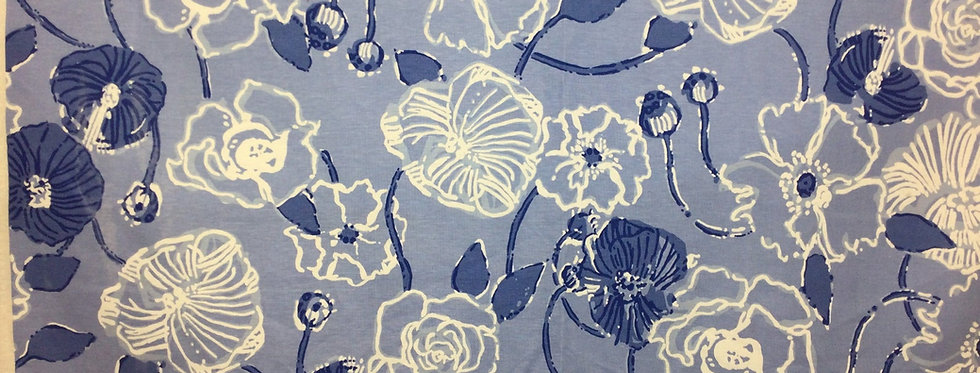 Kravet - Blue and White Whimsy Floral - Lilly Pulitzer - Multicolor Floral