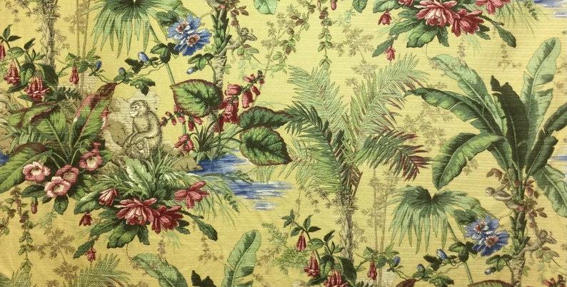 Monkey Jungle - Upholstery Fabric - Home Decor Fabric - Palm tree - Flowers - Mo